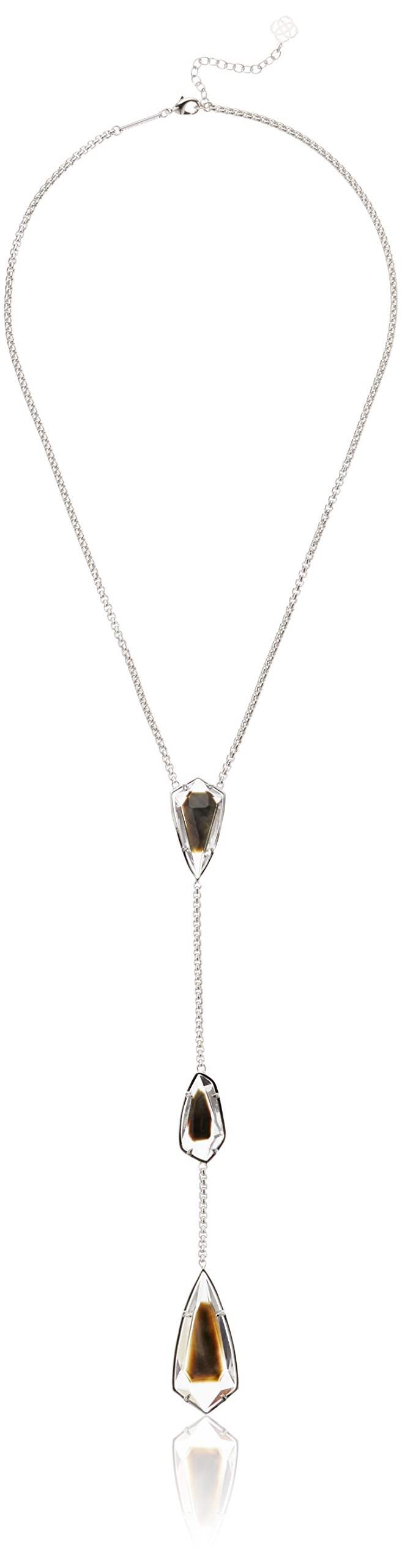Kendra Scott Charlotte Rhodium Black Mother of Pearl Y-Shaped Necklace, 22'' + 2'' Extender