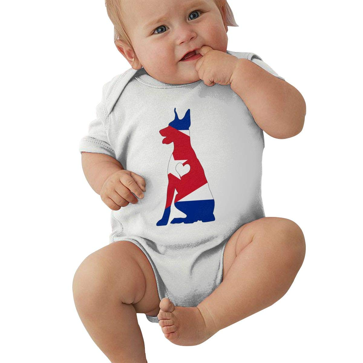 Mri-le2 Newborn Baby Short Sleeve Jumpsuit Cuba Flag Adore Dobermans Dog Toddler Clothes