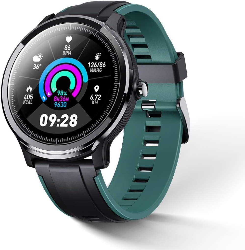 GOKOO Bluetooth Smartwatch Hombres Reloj Inteligente Pulsómetros Pantalla Táctil Rastreador Ejercicios Compatible con Android IOS