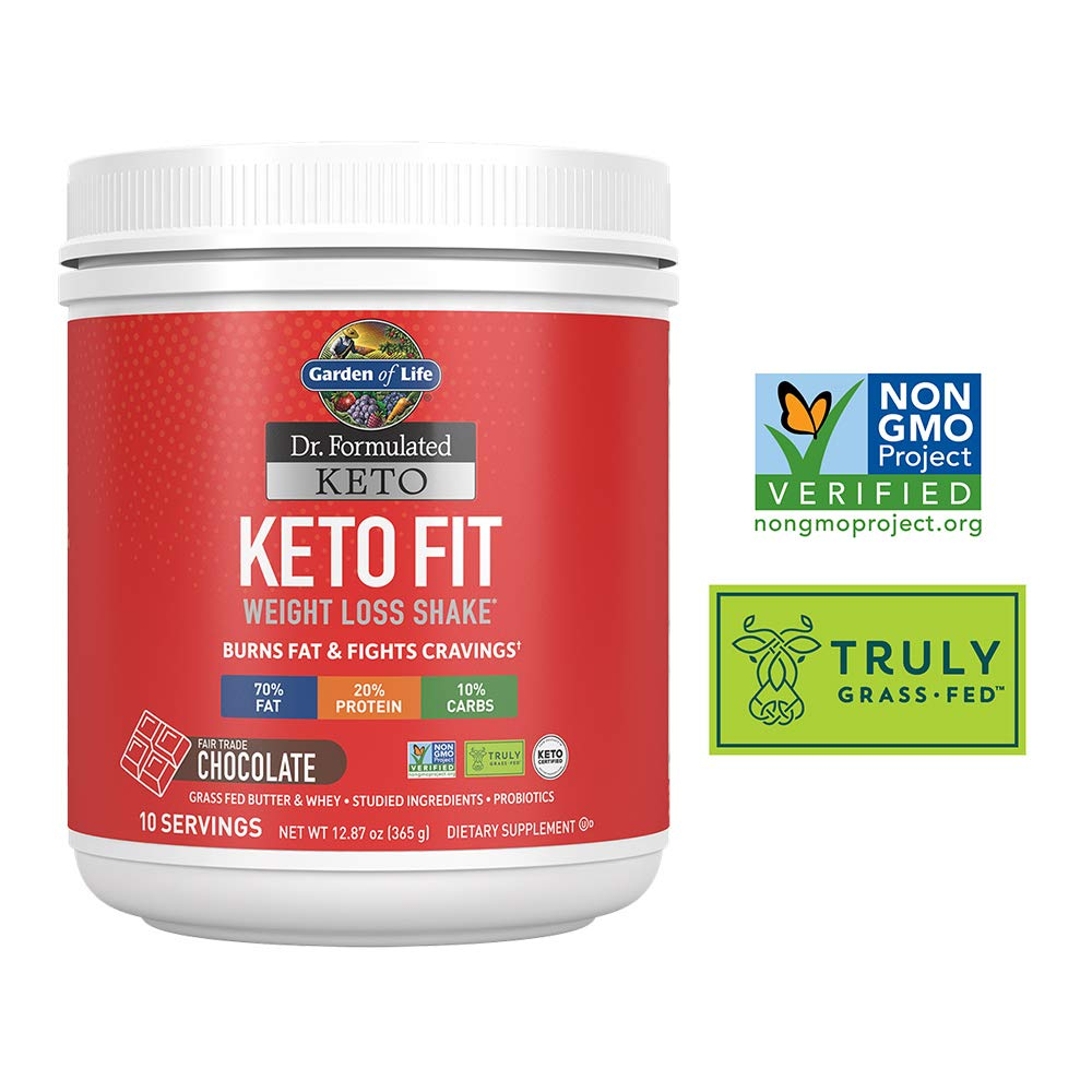 Garden of Life Dr. Formulated Keto Fit Weight Loss Shake - Chocolate Powder, 10 Servings, Truly Grass Fed Butter & Whey Protein, Studied Ingredients plus Probiotics, Non-GMO, Gluten Free, Keto, Paleo by Garden of Life