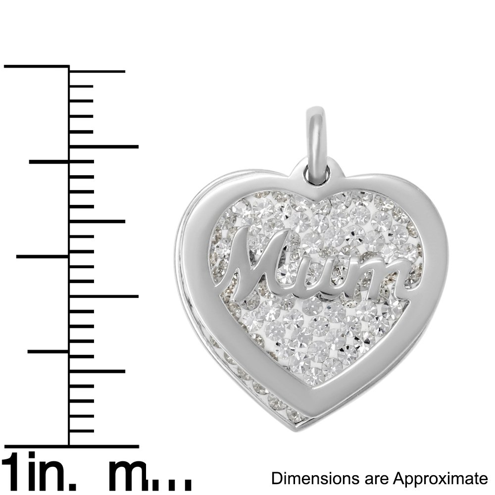 18 or 20 inch Rope Sterling Silver Crystal Mum Heart Charm on a 16 Box or Curb Chain Necklace