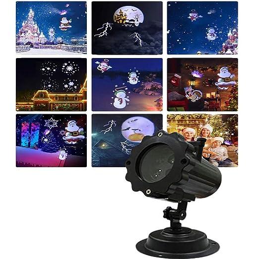 QFQ 5W proyector de la Navidad, LED 12 Diapositivas exterior ...