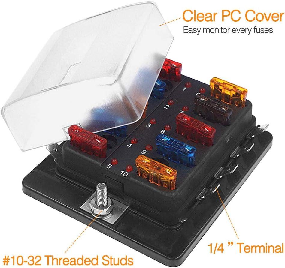 Abdeckung Neu 10 Weg Universal Standard 12V 12 Volt Atc Flachsicherung Box