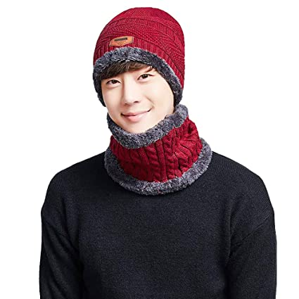 8042a3b8770 Amazon.com  🍄LIULIULIU🍄Unisex Winter Warm Beanie Hat Scarf Set Knit Hat  Thick Knit Skull Cap (Red)  Garden   Outdoor