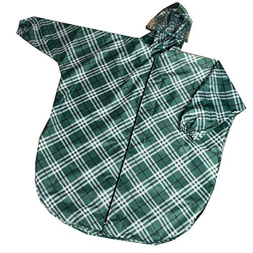 家事前件女の子グリーン チェック ポンチョ 自転車 レインコート 乗る アウトドア レインコート 環境保護 快適な レインコート 軽量 レインウェア 防水 携帯袋付き