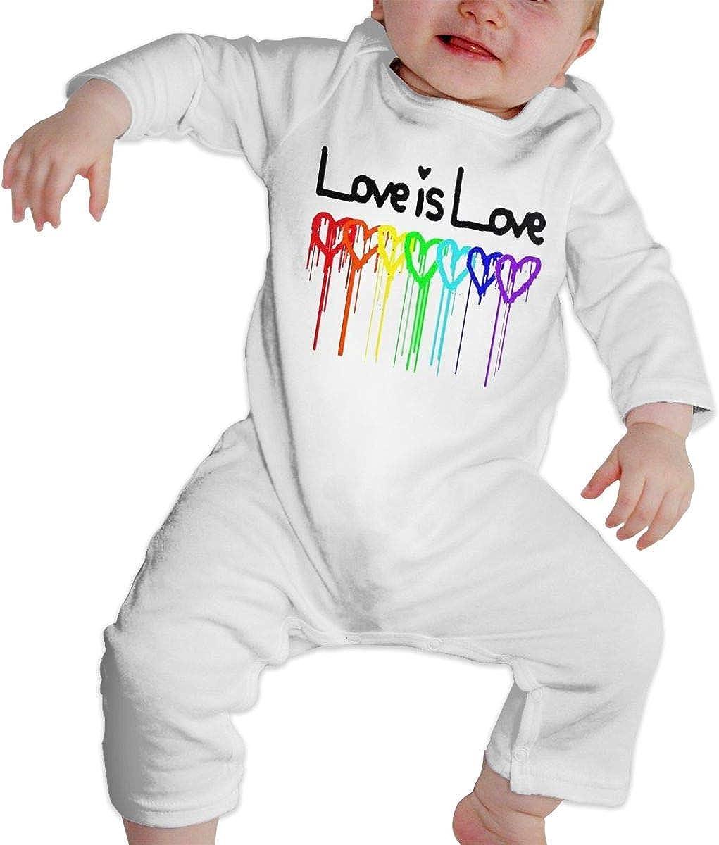 Rainbow Gay Pride Flag Impreso Love is Love Beb/é Manga Larga Onesies Body Algod/ón Pijama de Mameluco para ni/ños Ni/ñas