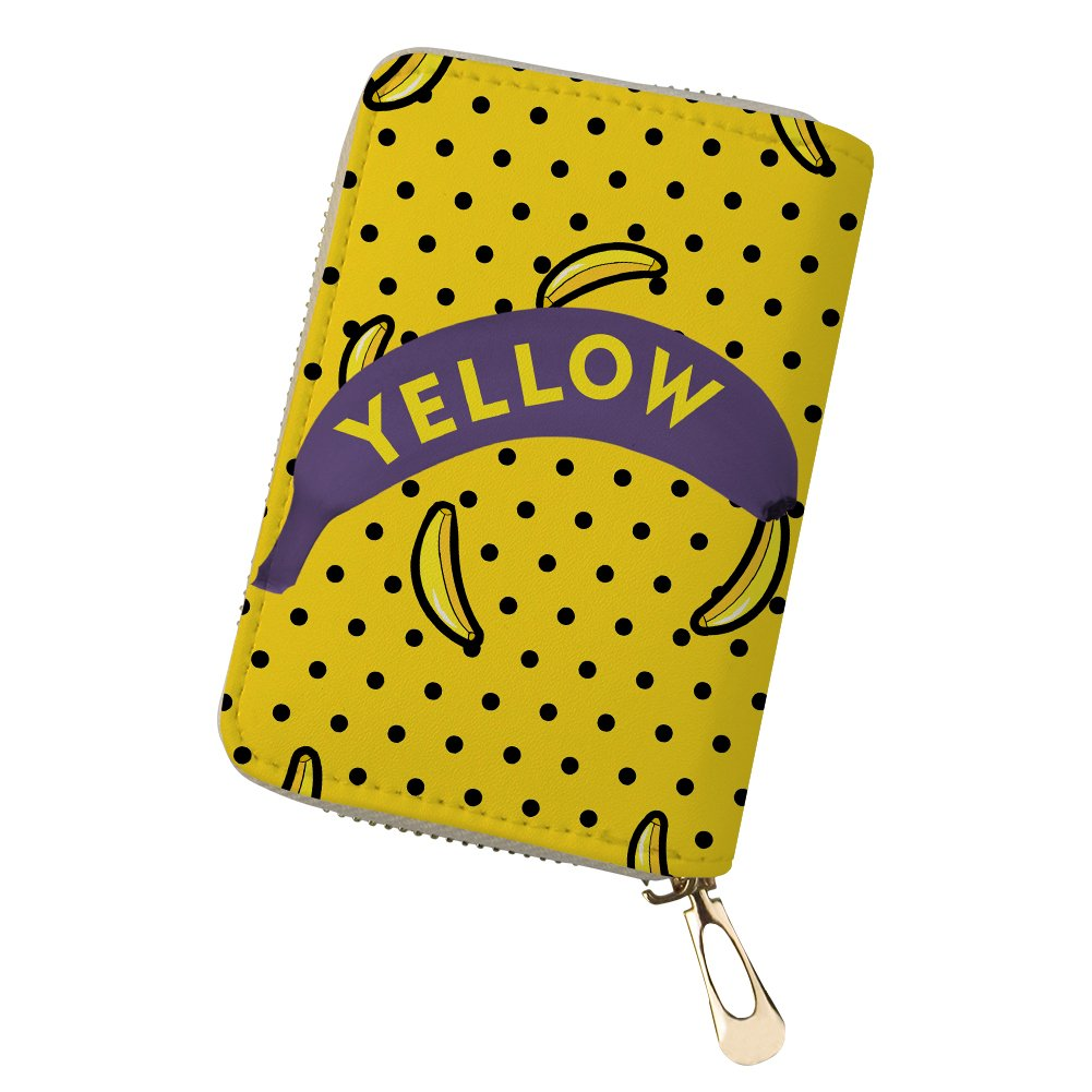 Black Yellow Banana Credit Card Wallet Small Organizer for Women