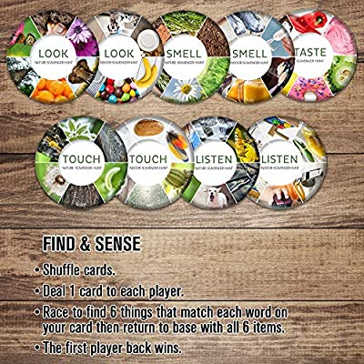 Outdoor Games - Sensory Scavenger Hunt Game for Kids - Indoor Outside Nature Card Games for Family Toddlers Teens Ages 3-6 4-8 8-12: Toys & Games