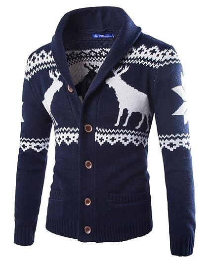 ZhuiKun Uomo Cardigan Renna di Natale Maglione Maniche Lunghe Giacca di  Maglia Blu Navy S bb14668c951