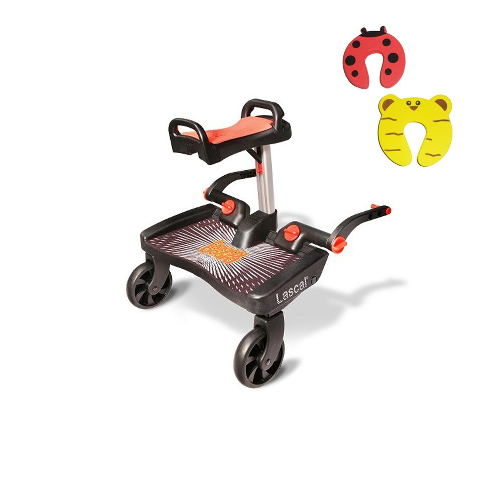 Lascal Red Maxi Buggyboard Plus Saddle Seat And 2 Safety Door Stopper Package LBMS-BR