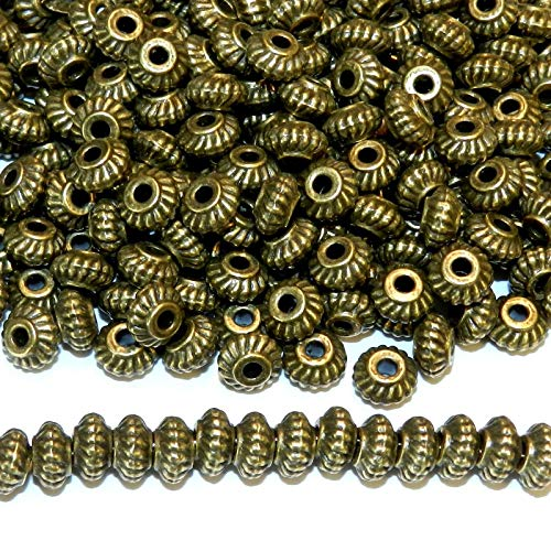 Pendant Jewelry Making Antiqued Bronze 6mm Twisted Rope Corrugated Rimmed Rondelle Beads 50pc