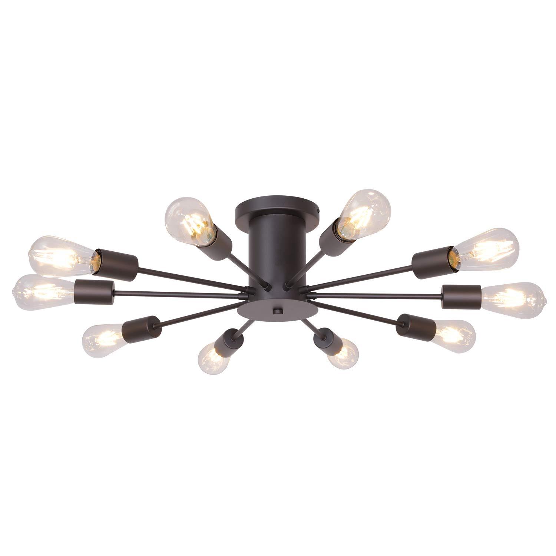VINLUZ 10 Lights Modern Sputnik Chandelier Oil Rubbed Bronze Flush Mount Ceiling Light Rustic Chandelier for Bedroom Kitchen Dining Room Living Room