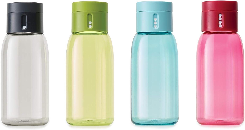 sans bisph/énol A Dot Joseph - 400 ml Bouteille Intelligente en Plastique avec Couvercle Anti-Fuite et Indicateur dHydratation- Sans BPA Gris