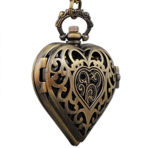 Amazon vigoroso womens steampunk pocket watch heart harry vigoroso womens steampunk pocket watch heart harry potter locket style pendant necklace chain in gift box aloadofball Images