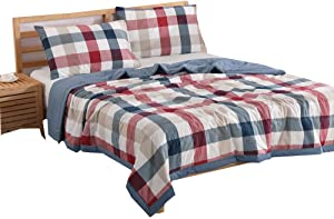 NTCOCO 3 Piece Comforter Set Thin Quilt Lightweight Comforter,100% Washed Cotton,Machine Washable,Soft Comfy Breathable Can Sleep Naked(Blue Red, Queen)