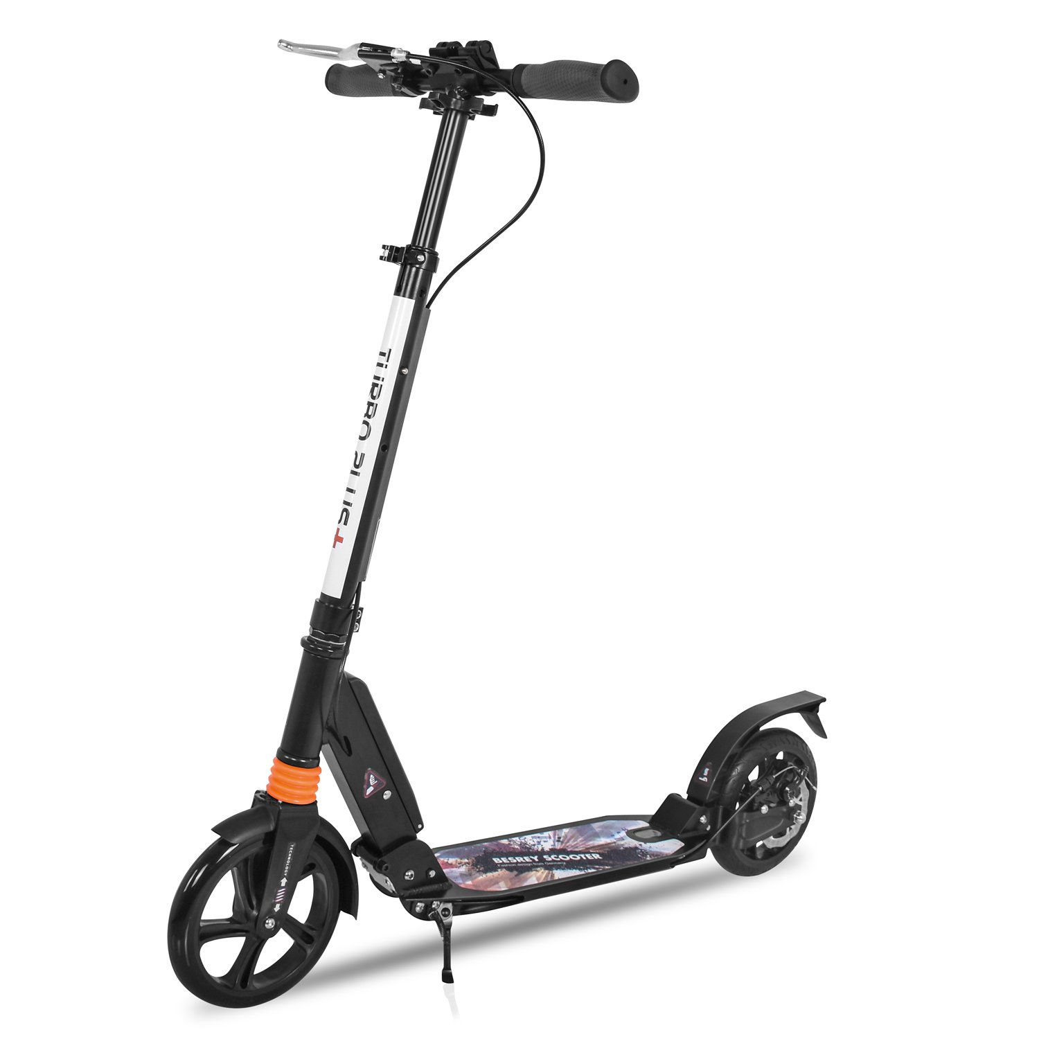 besrey Kick Scooter One Key Folding Big Wheel Scooter with Disc Brake Dual Shock Absorption System for Adult and Teens