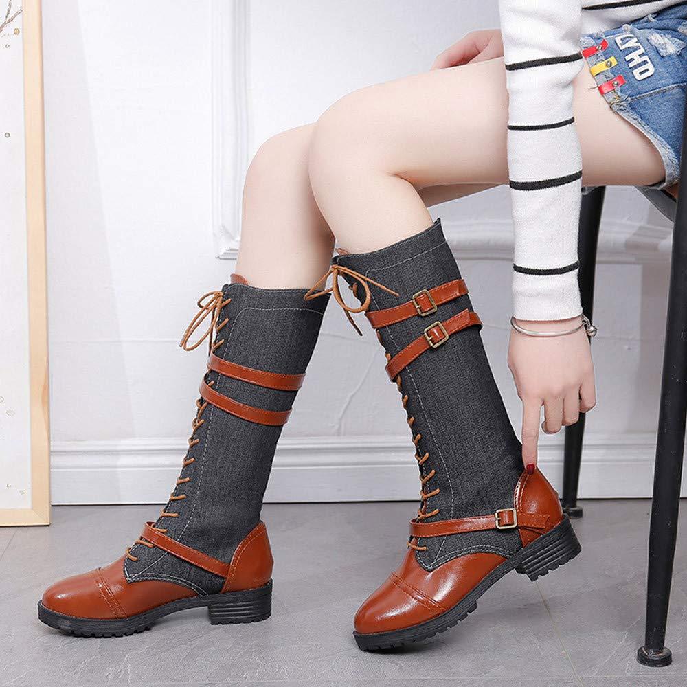 Amazon.com: COPPEN Women Boots Denim Roman Riding Knee High Cowboy Long Shoes: Clothing