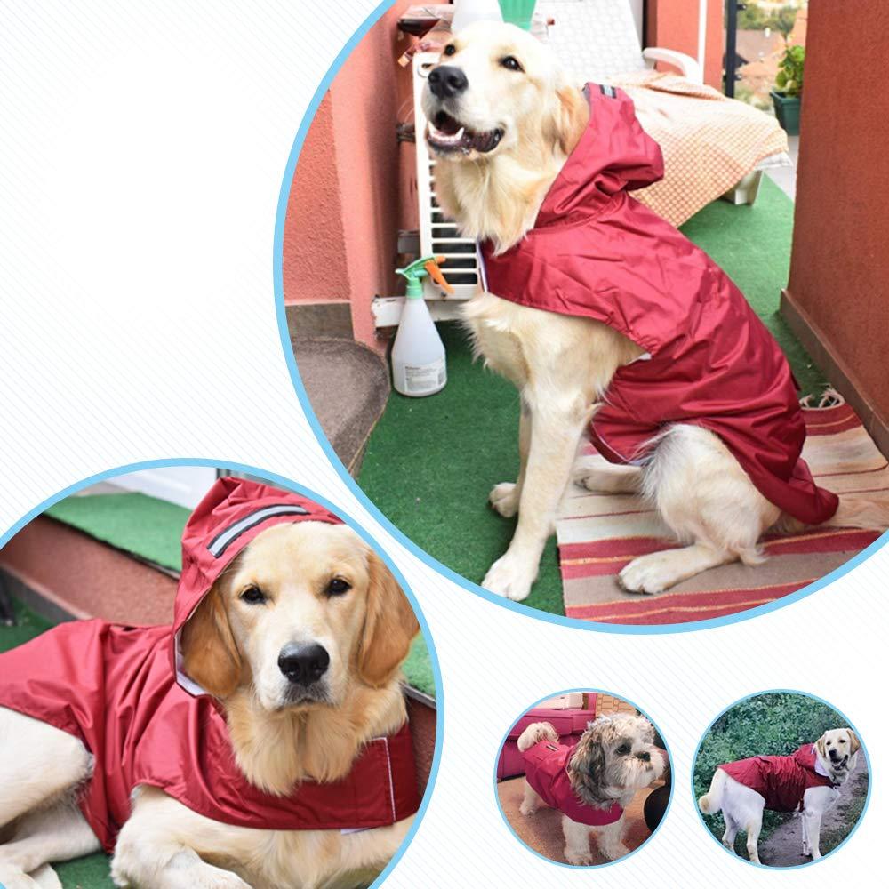 Decdeal 5XL Reflective Pet Dog Rain Coat Raincoat Rainwear with Leash Hole for Medium Large Dogs