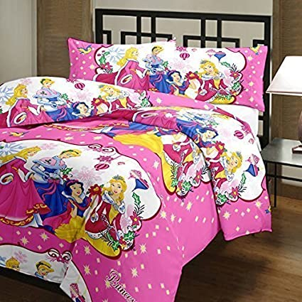 Ss Sales 100% Cotton Kids Cartoon Barbie Princes Printed Double Bedsheet  With 2 Pillow Covers