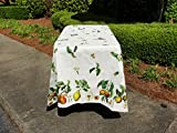 French Design Fruit Motif Tablecloth Coated, 100 Inch Long