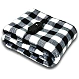 AUTOTRENDS-SJ734R017 12V Electric Heated Blanket Large Size Warm Blankets for Body Travel Blanket - Black and White