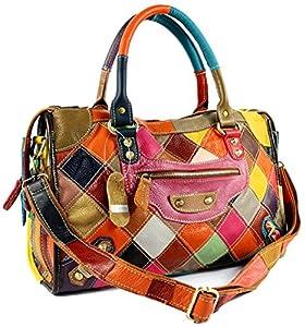 Heshe Women's Multi-color Shoulder Bag Hobo Tote Handbag Cross Body Purse