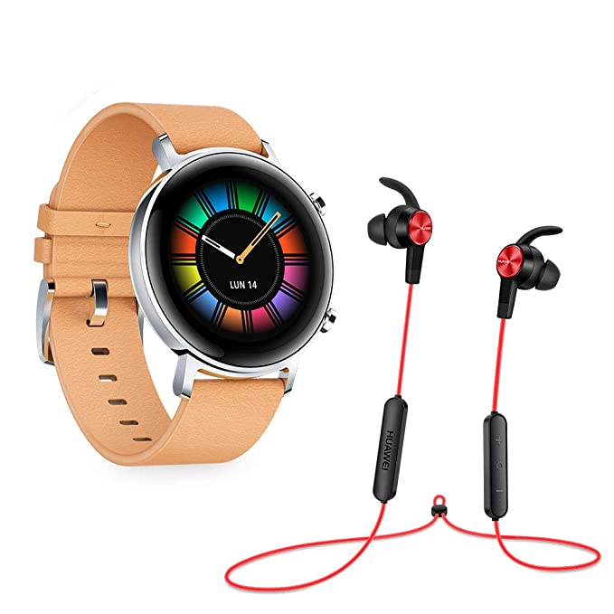 Huawei Watch GT 2 - Pack de Auricular Bluetooth AM61 y Smartwatch con Caja de 42mm (Pantalla Táctil AMOLED de 1.2