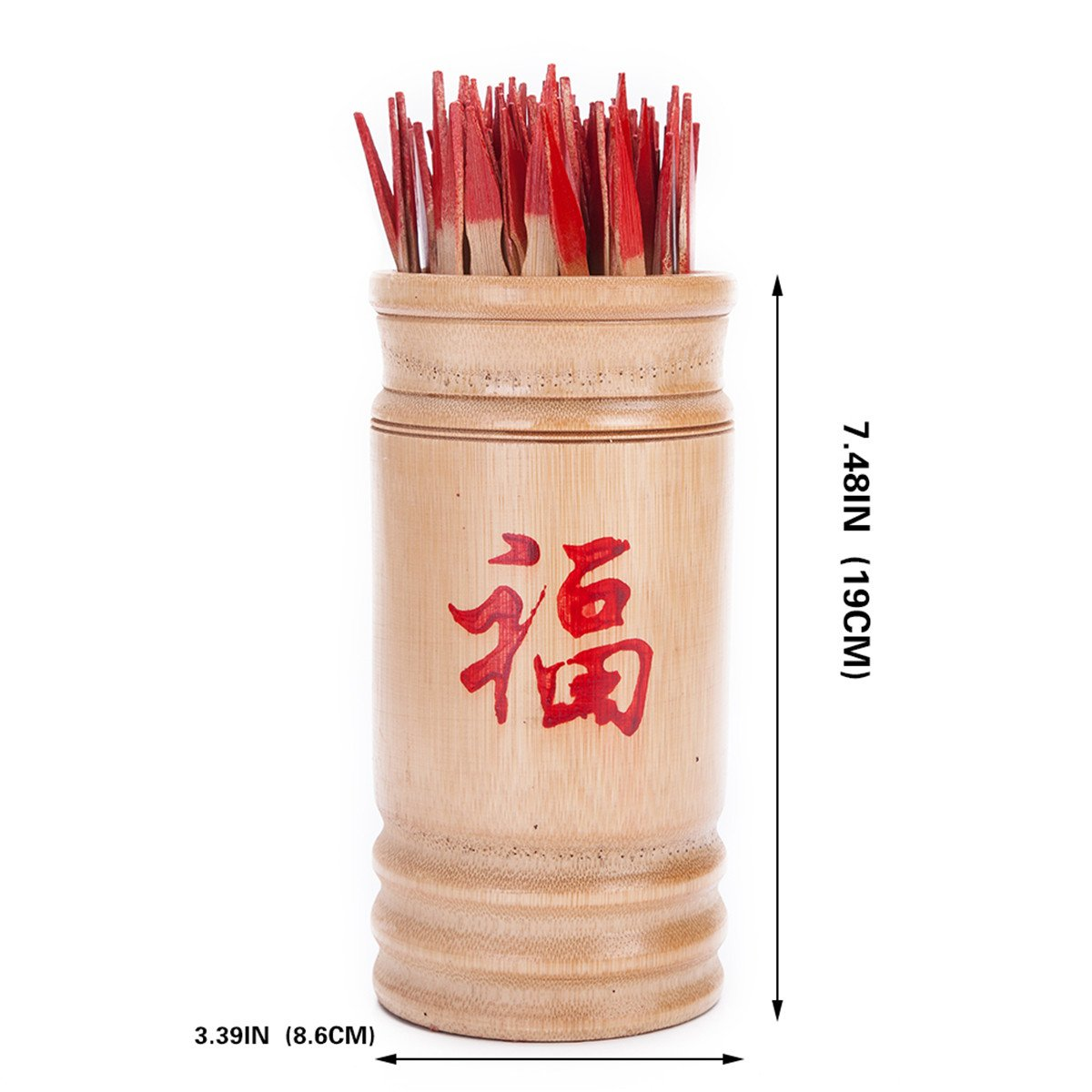 Chinese Fortune Telling Sticks W. Instruction Booklet Natural Bamboo Cansiter Red ''FU''