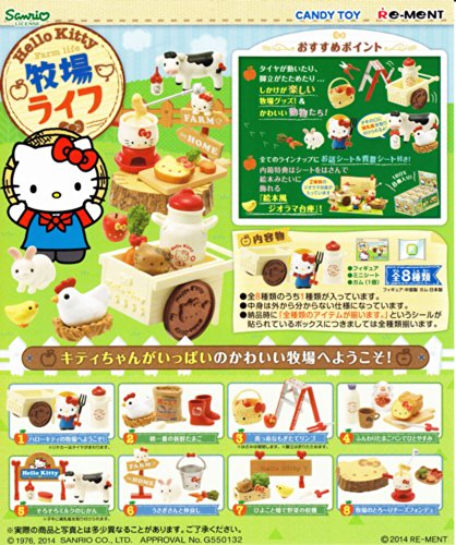 Full set Box 8 packages miniature figure Hello Kitty Farm life by Re-Ment from Japan