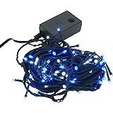 【ブルー&ホワイト】 イルミネーション LED ライト クリスマスライト 100球 点灯パターン記憶メモリー付 連結可