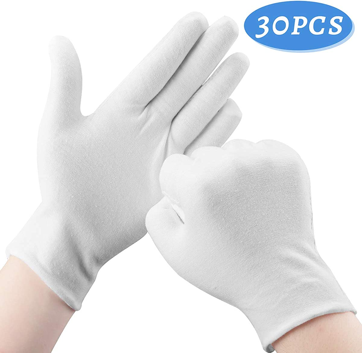 OKAM Cotton Gloves, 30 Pcs White Cotton Gloves for Dry Hands Moisturizing Eczema, Washable Shrink Resistant Cotton Gloves for Men and Women, Stretchable Cloth Gloves for Coin Jewelry Silver Inspection, 8.5''/21.5cm
