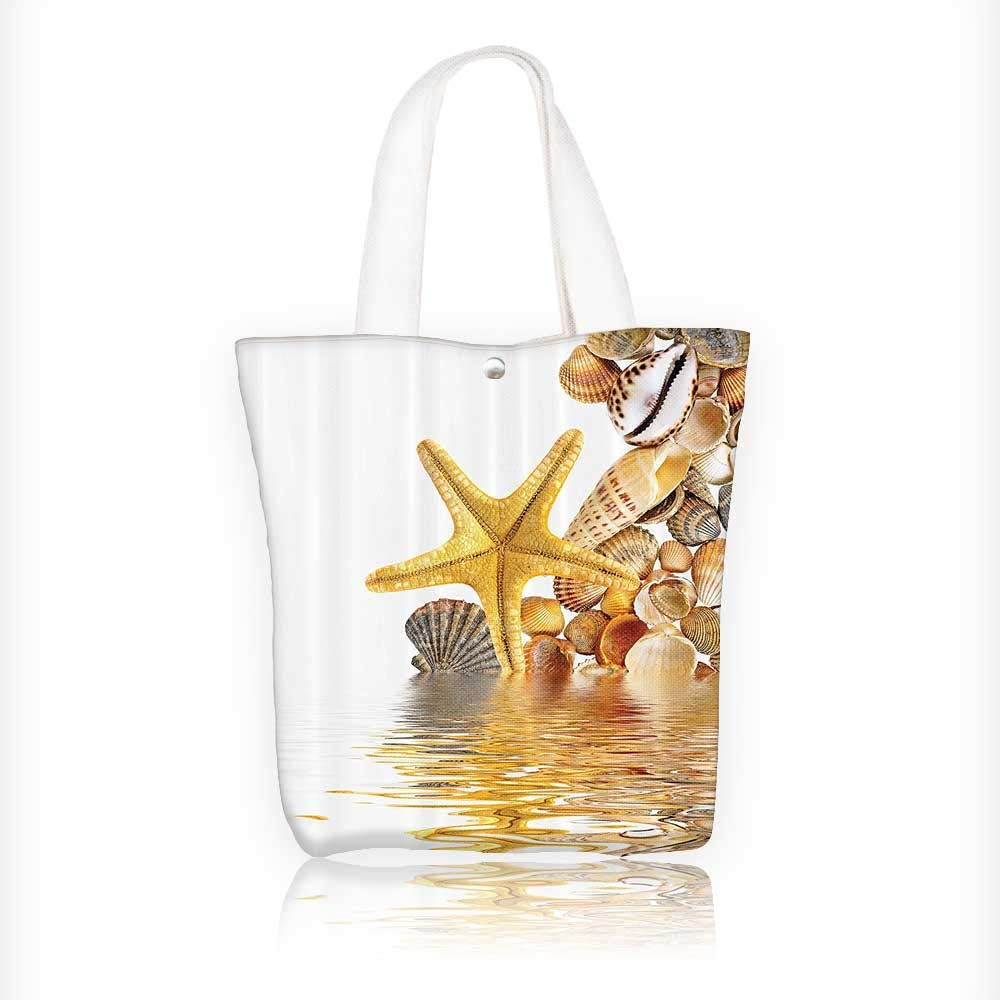 canvas tote bag Shells And Starfish Reflecti Water Golden Color Wellness Spa Natural Clear reusable canvas bag bulk for grocery,shopping W16.5xH14xD7 INCH