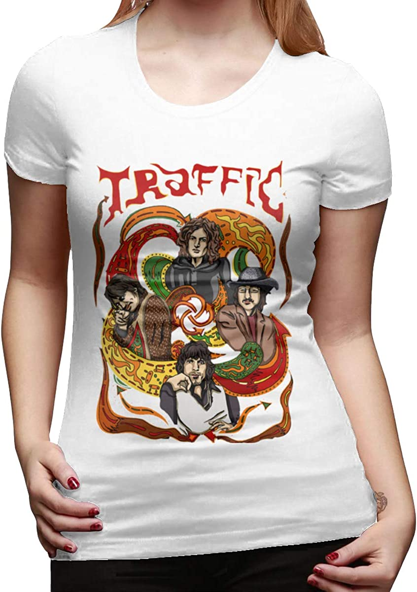 Seuriamin Traffic Band Womens Cool Running Round Neck Short Sleeve Shirts Tops