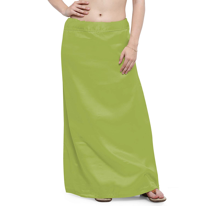 IFH Apparel Falda interior de seda de satén verde oliva con diseño ...