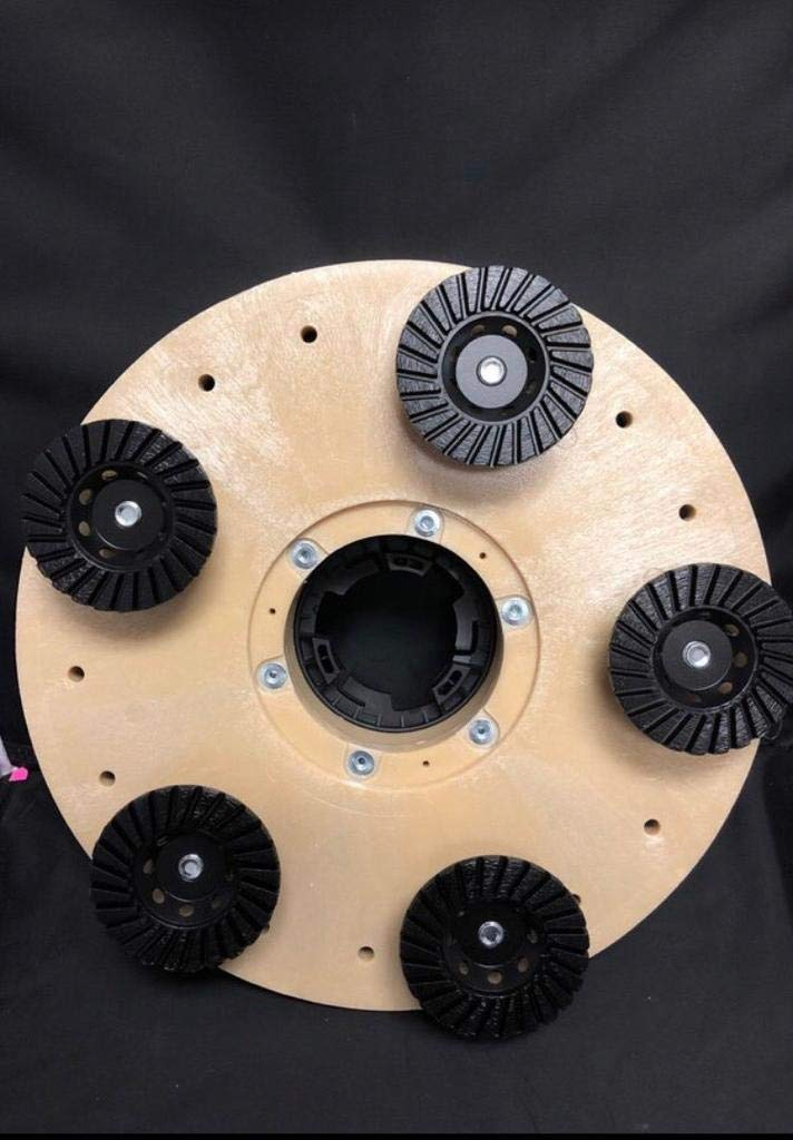 Concrete Grinding Plate for Swing Machines with 5 Cup Wheels- MAX RPM 175