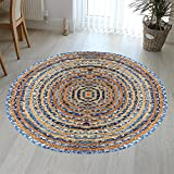 Hand Woven Jute & Multi Chindi Rug for Kitchen-Livingroom-Bedroom 3-Feet Round Review