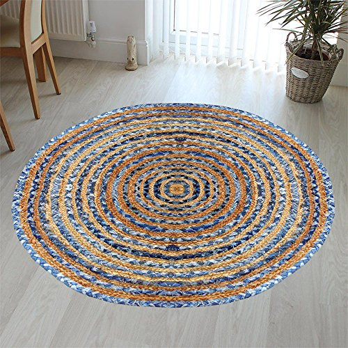 Hand Woven Jute & Multi Chindi Rug for Kitchen-Livingroom-Bedroom 3-Feet Round