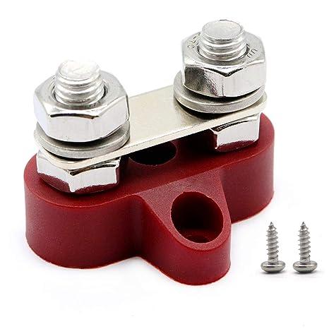 Rojo RKURCK M8 5//16 Dual Heavy Duty Terminal Stud Power y Ground Junction Block