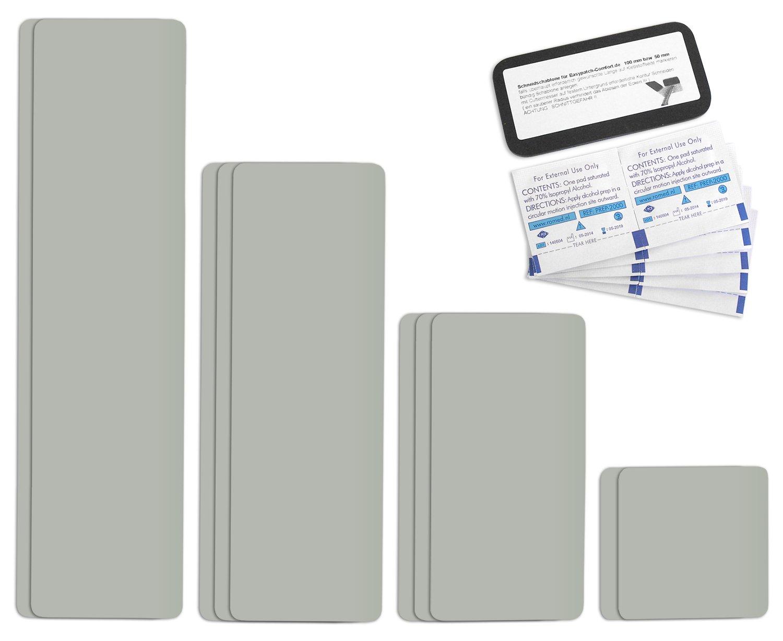 Parche para reparar toldos de semirremolques | disponible en multitud de colores | Easy Patch Comfort 100 mm de ancho - 10 piezas - | Gris Claro/ágata gris ...
