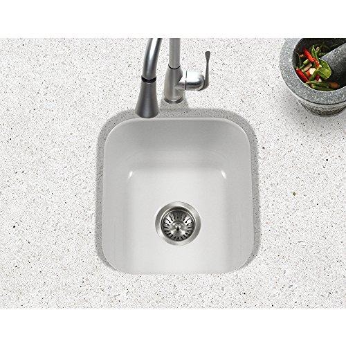 Houzer PCB-1750 WH Porcela Series Porcelain Enamel Steel Undermount Bar/Prep Sink, White by HOUZER (Image #1)