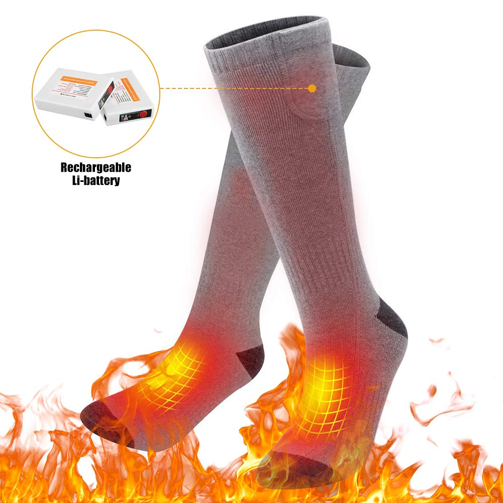 Upgraded Heated Socks Electric Rechargeable Battery 3 Levels Heating Settings Thermal Heating Sock for Men Women Camping Foot Warmers for Riding,Skiing,Motorcycling,Shoveling Snow (Grey) by upstartech