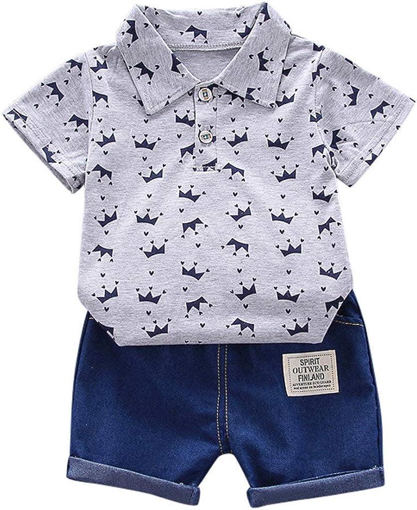 Jeans Set Bekleidungsset Babykleidung Kinderkleidung Set Kleinkind Kinder Baby Boy Junge Langarm Crown Muster Polo Shirt Tops 1J-5J
