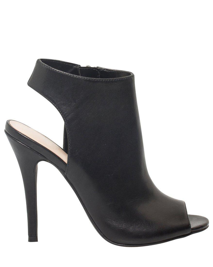 LE CHÂTEAU Women's High Heel Leather Open Toe Sandal Bootie,6,Black
