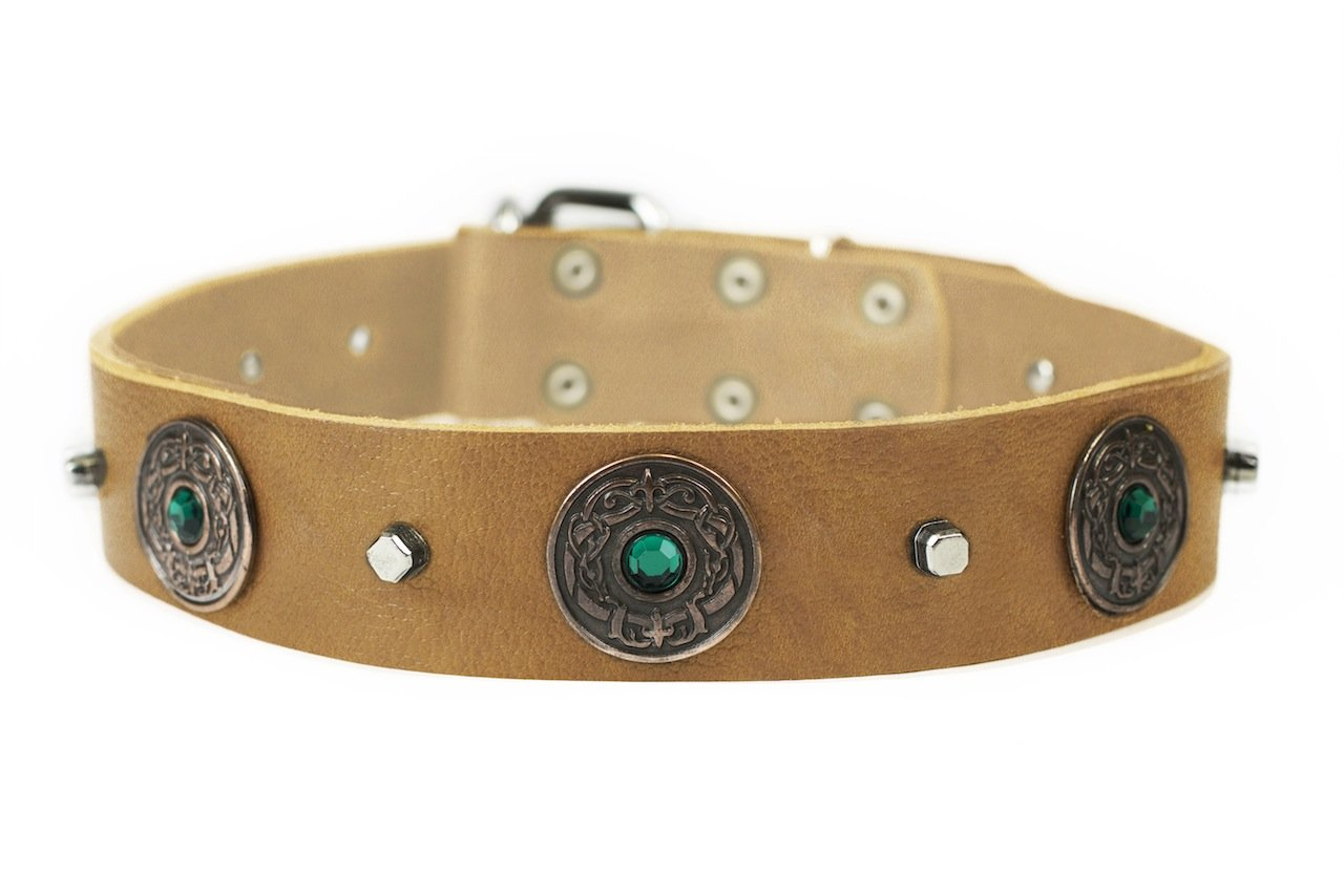 Dean and Tyler  DRAGON EYE  Dog Collar With Nickel Buckle  Tan  Size 86cm By 4cm Width. Fits neck size 32 Inches to 36 Inches.