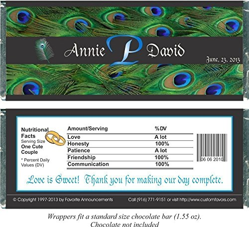 - Personalized Peacock Theme Wedding Favor Candy Bar Wrappers, Fits a Chocolate Bar, (set of 12)(W667/K134)