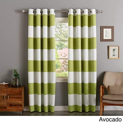 2 Piece 84 Inch Avocado Green Off White Rugby Stripes Curtains Pair