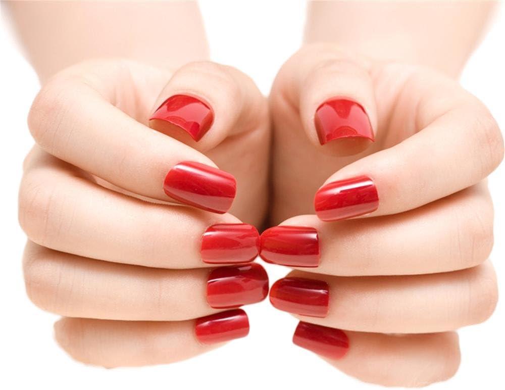Amazon Com Jindin 24 Sheet Deep Red Short Fake Nails Acrylic Nail Art Tips Press On Nails Women And Girls Party Wedding Nail Decals Kitchen Dining
