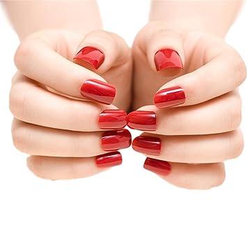 Amazon Com Jindin 24 Sheet Deep Red Short Fake Nails Acrylic Nail