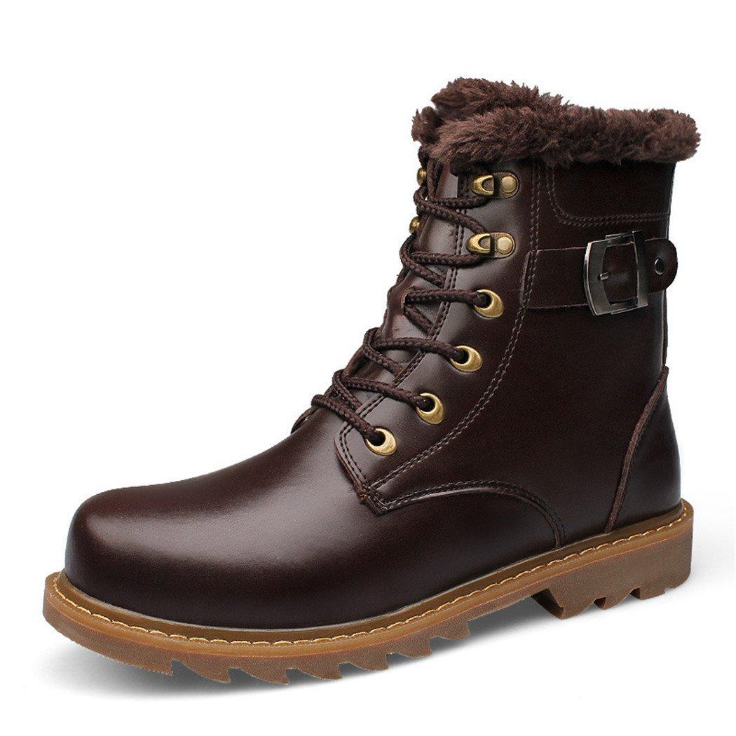 ZQ@QXEl otoño y el invierno de la moda europea y americana de cachemir Plus herramienta caliente botas botas de cuero para hombres Martin botas de color marrón oscuro, además de algodón, 46 46|Dark brown plus cotton Dark brown