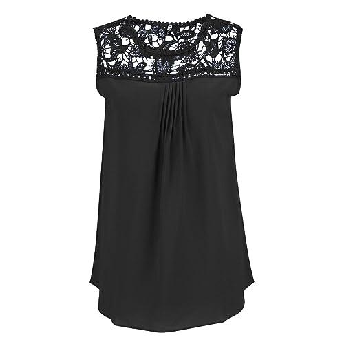 Bluse Senza Maniche in Chiffon e Pizzo Colletto Tondo Tops Camicetta T Shirt Elegante e Affascinante